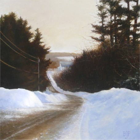"Barbara Jones Peabody | Winter on Prescott Hill | Oil on Panel | 5.5"" X 5.5"" 