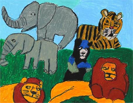 Elephants Lions Bear Tiger