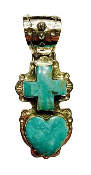 Pendant - Turquoise Heart & Cross