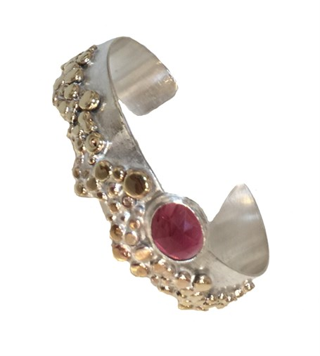 Bracelet - Sterling Silver & Gold Alloy Cuff Set with Pink Tourmaline