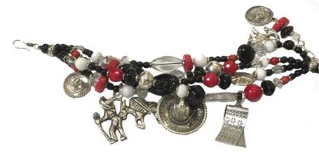 KY - 1237 Four Strand Bracelet, black onyx, red coral, white quartz