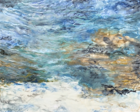 "Kathy Ostrander Roberts | Ebb Tide | Encaustic on Panel | 24"" X 30"" 