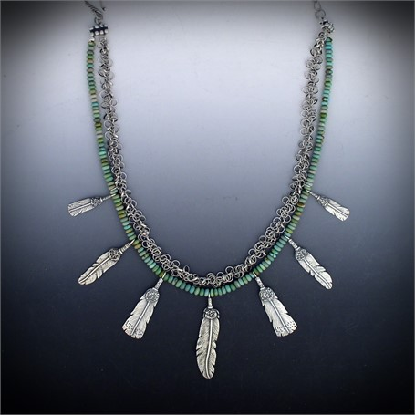 Necklace - Feathers & Turquoise - Seven sterling feathers hang from a strand of green turquoise roundels #30533