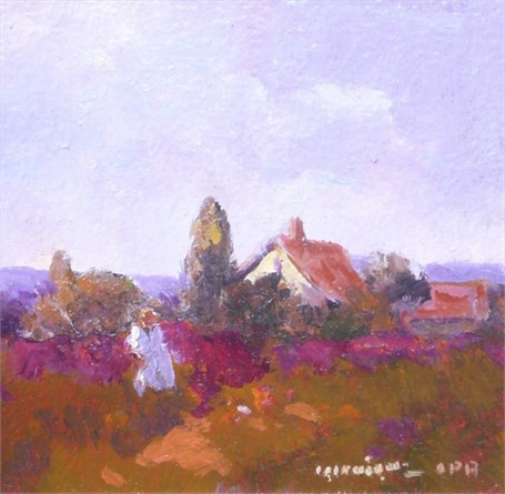 "Monique Sakellarios | Walk Through the Poppies | Oil | 5"" X 5"" 