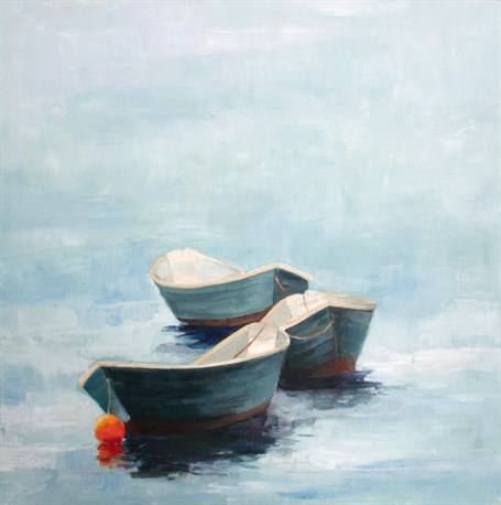"Ellen Welch Granter | Dories 1 | Oil on Panel | 20"" X 20"" 