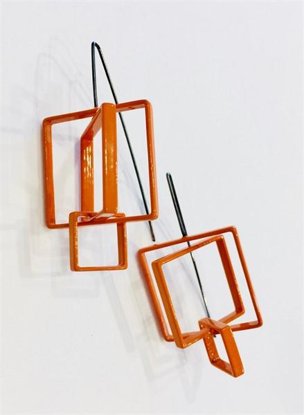 Earrings: 3 Large Orange Squares