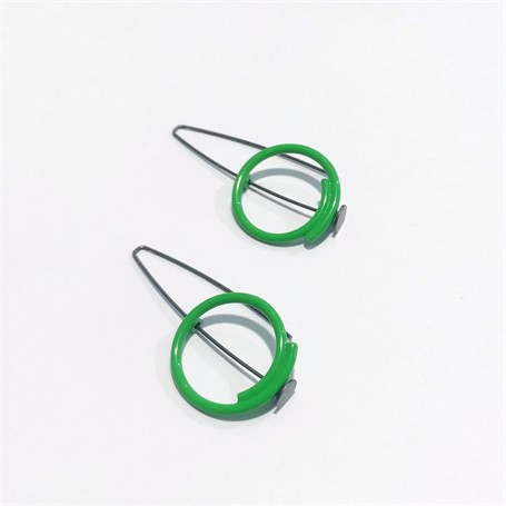 Powder Coated Earrings: Small Round in Apple Green