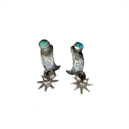 Earrings - Silver Spurs with Turquoise