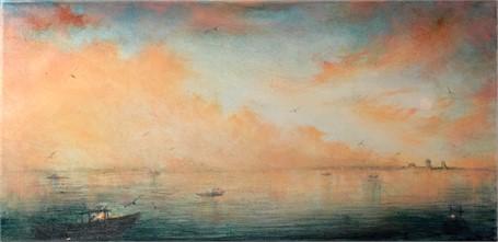 "John LeCours | Goat Island Lighthouse at Dusk #4 | Oil on Canvas | 10"" X 20"" | Sold"