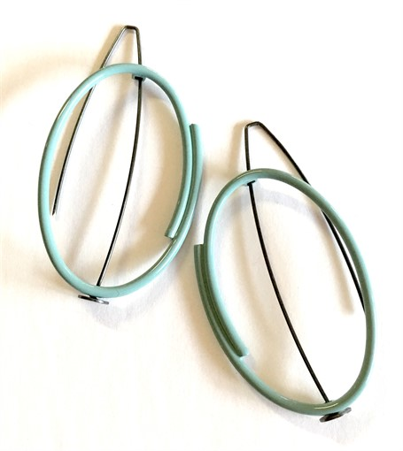 Earrings: Vertical Oval in Pale Blue