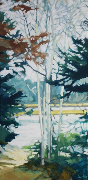 "Liz Hoag | Birches By the Cove | Acrylic on Canvas | 24"" X 12"" 