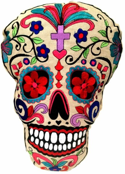 Calavera - Skull Pillow with Purple Cross