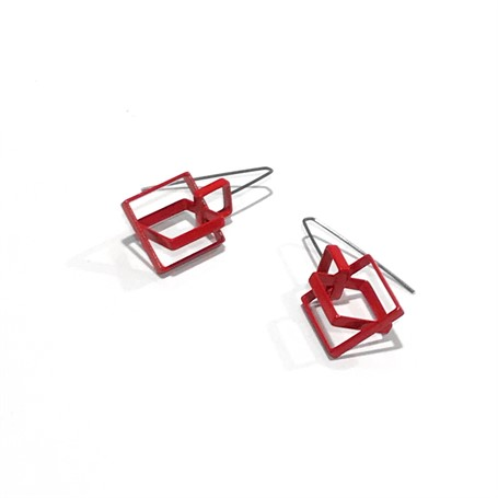 Powder Coated Earrings: 3 Medium Red Squares