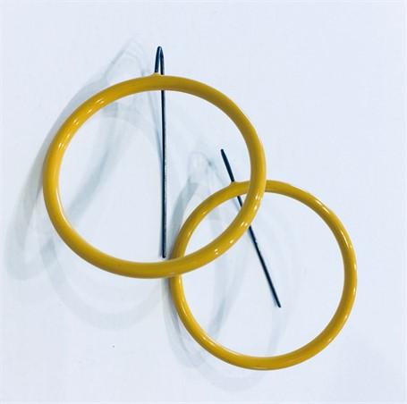 Earrings: Medium Circle in Mustard