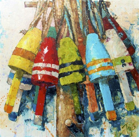 "Trip Park | Bright Buoys | Acrylic and Mixed Media | 40"" X 40"" 