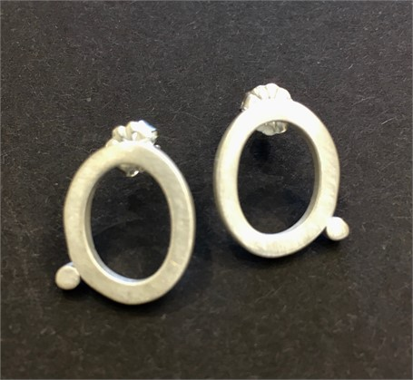 Earring: Small Square Stock Oval with Dot