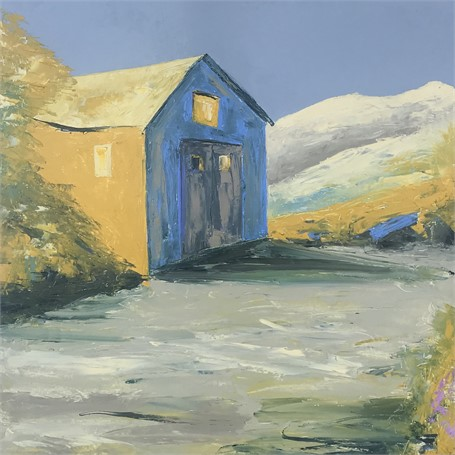 "Janis H. Sanders | Dunes and Shack | Oil | 24"" X 24"" 