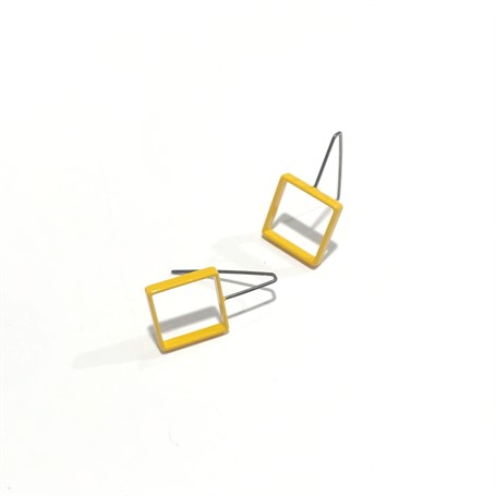 Powder Coated Earrings: Small Mustard Square
