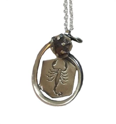 Necklace - Silver Scorpion Pendant With Smokey Quartz