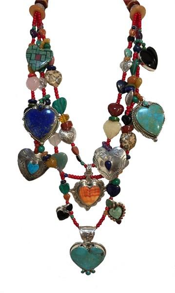 KY - 1233 Turquoise, Rose quartz, Black onyx, Jade, Spiny Oyster.