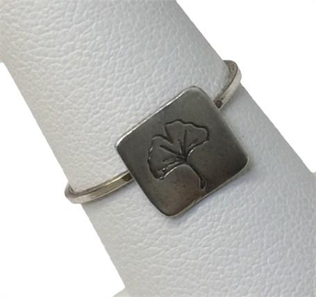 Ring - Stamped Ginkgo Leaf