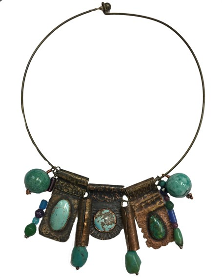 Necklace - Small Copper & Brass Textured Pendants with Turquoise, Enameled Copper Beads D186