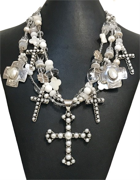 KY 1269 Three Strand Cross Necklace Mother of and Freshwater Pearls