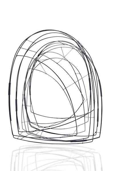 "Donna D'Aquino | Steel Sculpture: Lightweight Arch in Black | Steel and Paint | 28"" X 21"" | 3850.00"