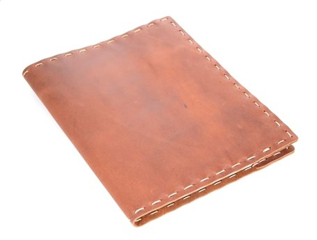 Leather Composition Cover Hand Stitched - Saddle  RU02