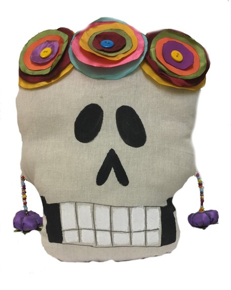 Pillow - Calavera Medio - Hand-painted canvas and sewn