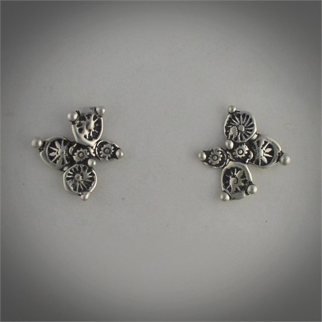 Earrings - Small Flower - Sterling silver cast earrings of stamped disc flowers. Post earring # 30513