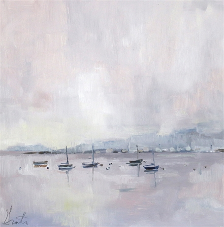 "Ellen Welch Granter | Harbor Pinks | Oil on Panel | 12"" X 12"" 
