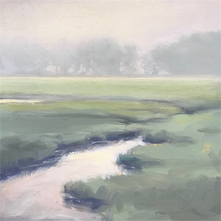 "Margaret Gerding | Morning Light-Day 19 | Oil on Panel | 8"" X 8"" 