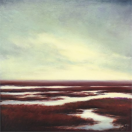 "Margaret Gerding | Red Marsh | Oil on Panel | 16"" X 16"" 