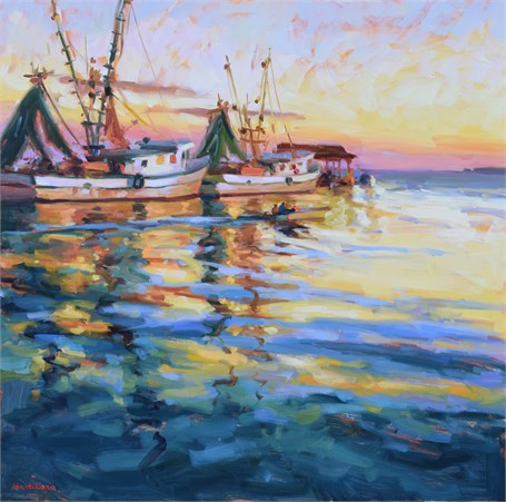 Shrimp Boats at Twilight