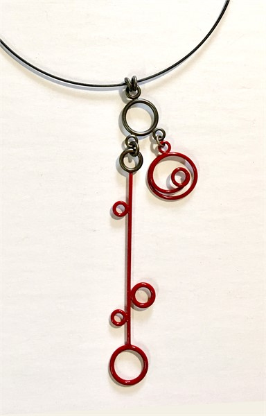Necklace: 3 Charm in Red