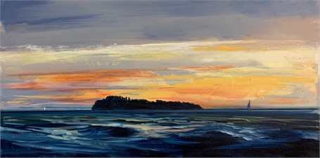 "Craig Mooney | Island Sail | Oil on Canvas | 24"" X 48"" 