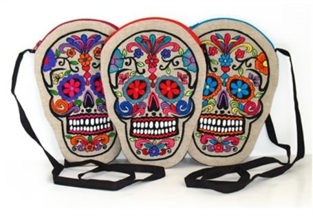 Embroidered on Linen Sugar Skull Purse - Assorted Colors