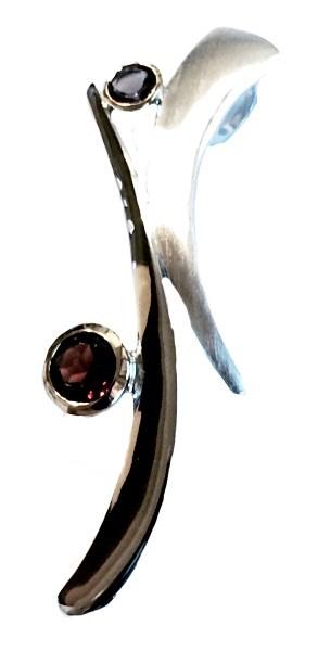 Pendant - Garnet, Iolite, .925 silver, 14kt - Sticks & Stones