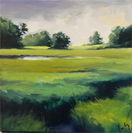 "Margaret Gerding | Bridle Path View III | Oil on Panel | 8"" X 8"" 