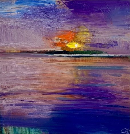 "Craig Mooney | Sunset Tide | Oil on Panel | 12"" X 12"" 