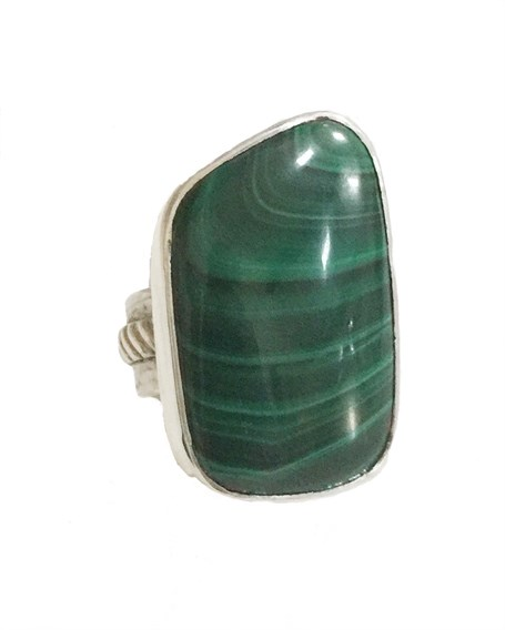 Ring - Sterling Silver & Set With Malachite DD117