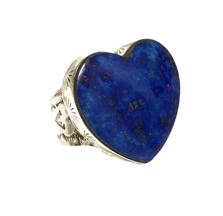Ring - Sterling Silver Clean Line Lapis Heart Adjustable