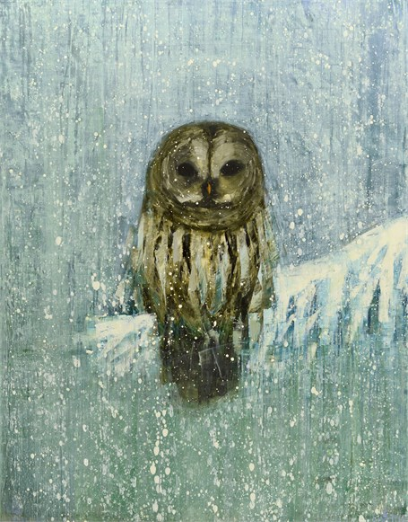"Rebecca Kinkead | Barred Owl (Winter Woods) | Oil and Wax on Linen | 54"" X 42"" 