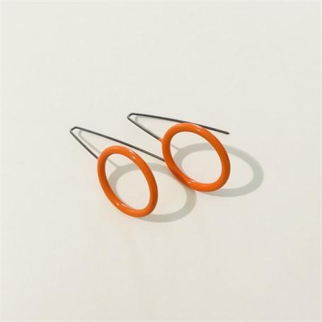 Earring: Medium Circle in Orange