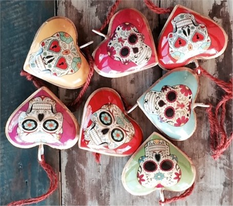 Ornament - 2 Sided Heart, Assorted Skulls