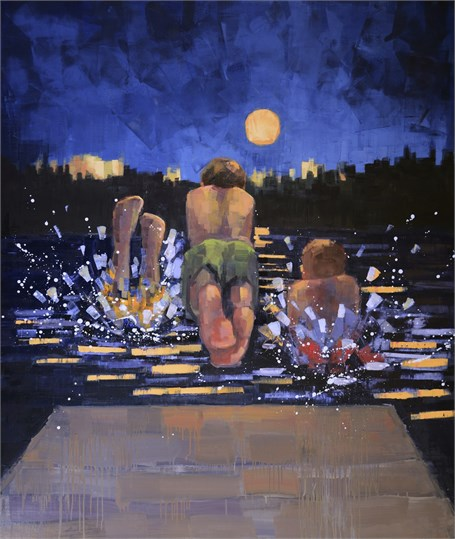 "Rebecca Kinkead | Night Swim (Full Moon) | Oil and Wax on Linen | 70"" X 59"" 