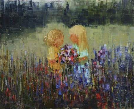 "Rebecca Kinkead | Meadow (Bloom) | Oil and Wax on Linen | 60"" X 74"" 