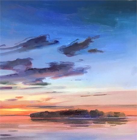 "Holly Ready | Island at Dusk | Oil on Canvas | 12"" X 12"" | Sold"