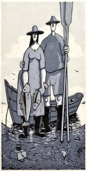 "David Witbeck - Prints | Fishwife | Woodcut | 21"" X 11"" 